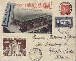 Entier Storch B5A Timbré Sur Commande Paix 50c Rouge Vignette Exposition Philatélique Nationale Lille 1933 YT Ae 6 Avion - Postal Stamped Stationery