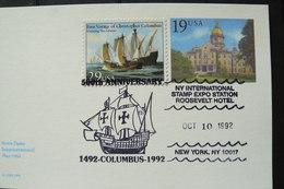 USA - Etats-Unis - Bateau - Entier Postal + Mi N° 2214 Avec Oblitération Illustrée - Voilier - Christophe Colomb - Barche