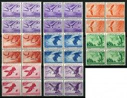 LIECHTENSTEIN 173x,y  VB **, 1939, Vögel In Viererblocks, 10 Pf. Beide Gummiarten, Prachtsatz (8 Werte), Mi. 229.- - Liechtenstein