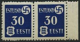 ESTLAND 3IY **, 1941, 30 Pf. Landespost Mit Abart A In Estland Gebrochen, Im Waagerechten Paar Mit Normaler Marke, üblic - Bezetting 1938-45