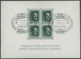Dt. Reich Bl. 11 O, 1937, Block Reichsparteitag, Ersttags-Sonderstempel MARSCHPOST, Pracht - Deutschland