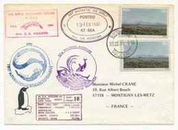 RSA - Enveloppe Postée 19 Février 1981 à Bord Du S.A.AGULHAS - Sea Fischeries Institute / Le CAP PAQUEBOT - Timbres