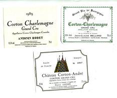 3 Etiquettes Bourgogne Corton Et Corton Charlemagne - Bourgogne