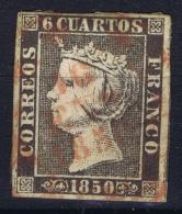 Spain Nr 1   Obl./Gestempelt/used  1850 Wide Borders, Red Date Cancel RR - 1850-68 Reino: Isabel II