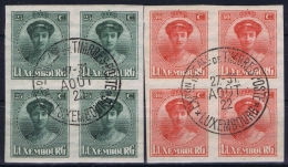 Luxembourg : Mi Nr 140 - 140 In Four Blocks Obl./Gestempelt/used  1922 - Luxembourg