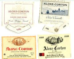 4 Etiquettes Bourgogne + 2 Tours De Col : Aloxe Corton Années 80 - Bourgogne