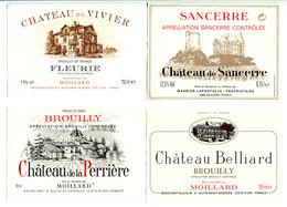 4 Etiquettes Bourgogne  : Fleury , Brouilly , Sancerre - Bourgogne