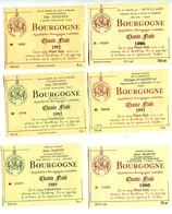 6 Etiquettes Bourgogne  : Chante Fluté 1986 à 1992 - Bourgogne