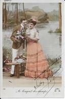 CARTE FANTAISIE ANNEES 1908  -    COUPLE  -  BOUQUET DES CHAMPS  -  CIRCULEE - Fantaisies