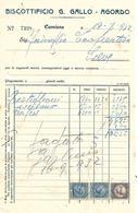 FAT198 - FATTURA 1932 - BISCOTTIFICIO G. GALLO - AGORDO - MARCHE DA BOLLO - Italy