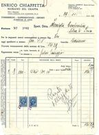 FAT199 - FATTURA 1935 - ENRICO CHIAPPETTA - BASSANO DEL GRAPPA - MARCHE DA BOLLO - Italy