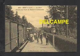 DF / CHEMINS DE FER / GARE DE BRUZ ( ILLE ET VILAINE ) / ARRIVÉE DU TRAIN DE RENNES LE DIMANCHE / ANIMÉE - Stations With Trains