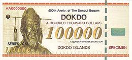 Specimen Île DOKDO Corée 100 000 Dollars 2013 UNC - Ficción & Especímenes