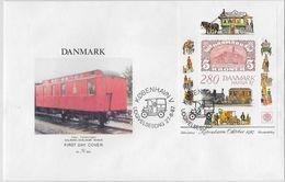 Danmark 1987: HAFNIA'87 Block 7 Auf FDC Mit O KOBENHAVN 27-8-87 - Trains