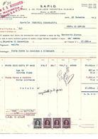FAT207 - FATTURA 1952 - DITTA G.B. MENEGOTTO - S.A.P.I.O. MAROSTICA - MARCHE DA BOLLO - Italy