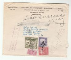 1950  'DELIVERY DELAYED' Colombia To United Nations COVER From MINISTRY OF AGRICULTURE To UN RADIO DIVISION  NY USA - Colombia