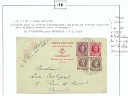 Type HOUYOUX 45 + 45c. (partie Demande) + Tp 2x20 Cent. Obl. Sc SCHAERBEEK Du 1-II-1929 Vers Bruxelles (Carte Pour Le Se - Stamped Stationery