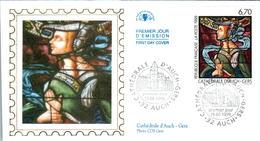 LETTRE GRAND FORMAT (1ER JOUR) - FDC - VITRAIL DE LA CATHEDRALE D'AUCH - 19 JUIN 1999 A AUCH - CÔTE : 5 EUROS - FDC