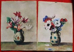 Aquarelle Signée, PAIRE PETITES AQUARELLES XIX ° , BOUQUET  FLEURS  VASE , 2 OLD WATERCOLOR DRAWING , FLOWERS - Watercolours