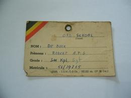 WW1 TESSERA RICONOSCIMENTO SCUOLA UFFICIALI SERGENTE BELGIO BELGIQUE ORD SCHOOL - 1914-18