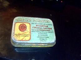 """Boite  Ancienne  Vide  En Metal Grains Laxatifs Miraton  """" Source Miraton A  Chatel Gyon  """" Dimentions 3,5 X 5 Cm Env. - Scatole"""