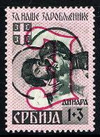 SERBIA 1941 Prisoners Of War Fund 1+3 D. Type III  LHM / *.  Michel 55 III - Occupation 1938-45