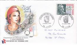 FRANCE - FDC JOURNEE DU TIMBRE 1995 - CINQUANTENAIRE MARIANE DE GANDON - 4.3.1995 LYON 69    / 1 - FDC