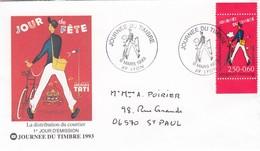 FRANCE -  FDC JOURNEE DU TIMBRE 1993 JOUR DE FETE JACQUES TATI - DISTRIBUTION DU COURRIER 6.3.1993 LYON 69 / 1 - FDC