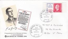 FRANCE -  FDC JOURNEE DU TIMBRE 1994 CINQUANTENAIRE MARIANNE DE DULAC - 12.3.1994 LYON 69  / 1 - FDC