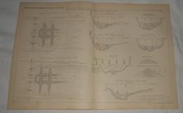 Plan De La Correction Des Gouffres Existant à L'aval Du Pont D'Ainay à Lyon. 1885. - Travaux Publics