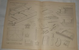 Plan Des Détails De Couverture En Plomb Et En Zinc.. 1885. - Travaux Publics