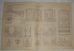 Plan Des Latrines Publiques Et Privées. Système Durand Claye. 1885. - Travaux Publics