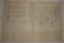 Plan De Deux Hôtels Particuliers à Paris.M.M. Wulliam Et Farge, Architectes. 1885. - Travaux Publics