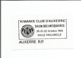 """FLAMME D'AUXERRE RP """" KIWANIS - Salon Des Antiquaires 1989 """" - Sans Bloc Dateur ( Specimen Poste ) - Annullamenti Meccanici (pubblicitari)"""