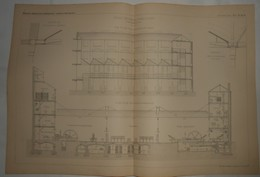 Plan De La Grande Imprimerie L. Danel à Lille. M. Vandenberg, Architecte. 1885. - Travaux Publics