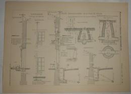 Plan Du Projet D'assainissement De La Ville De Toulon. 1885. - Travaux Publics