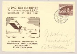 Nederland - 1946 - 3 Cent Bevrijdings Zegel Op Speciale Kaart Luchtpostcongres + Extra Stempel Op Az - Periode 1891-1948 (Wilhelmina)