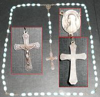 Rare Chapelet Perles De Verre Opalin Bleu, Médaille, Croix  Christ - Religione & Esoterismo