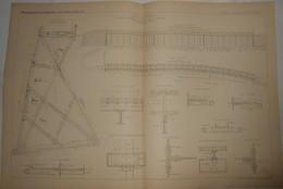Plan Du Port De Dieppe. Estacade Métallique Du Brise Lames De L'Est. M. Moisant Constructeur à Paris. 1885. - Travaux Publics