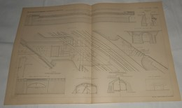 Plan D'un Pont Biais En Maçonnerie Sous Le Chemin De Fer De L'Est Près De La Station D'Est Ceinture à Paris. 1885. - Travaux Publics
