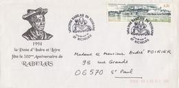 FRANCE - LETTRE CACHET COMMÉMORATIF RABELAIS EN TOURAINE GARGANTUA 27-28.8.1994 RICHELIEU 37  /2 - Storia Postale
