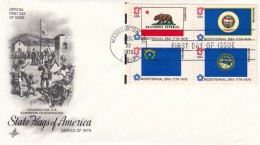 Sc#1663 #1664 #1668 #1669 Block Of 4 State Flag Bicentennial 13c Issues Illustrated FDC - First Day Covers (FDCs)