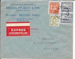 BRUXELLES   Enveloppe  ( Cover )  Brossel Frères , Bovy & Pipe SA - Cars