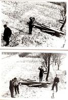 2 Photos Originales Petit Groupe De Photographes Amateurs Sur La Neige Vers 1970/80 - Personnes Anonymes