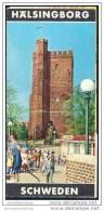Schweden - Hälsingborg 1966 - Faltblatt Mit 10 Abbildungen - Stadtplan-Teilstück - Schweden