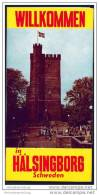 Hälsingborg 1966 - Faltblatt Mit 6 Abbildungen - Stadtrundgang - Stadtplan - Schweden