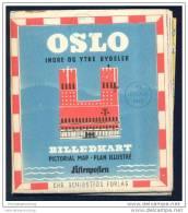 Norwegen - Oslo 1955 - Stadtplan/P. Haagen Jorgensen 1950 - 60cm X 78cm - Rückseitig Umgebungsplan - Norwegen