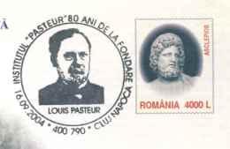 825  Pasteur, Asclépios Dieu De La Médecine: PAP + Oblit. 2004 - Asclepius God Of Medicine, Pasteur: Stationery + Cancel - Médecine