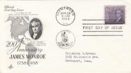 USA FDC Brief 1958, Stempel Montross - Ersttagsbelege (FDC)