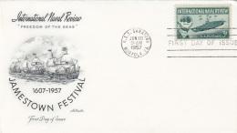 USA FDC Brief 1957, 3c Sondermarke Unterseeboot, Stempel Saratoga - Ersttagsbelege (FDC)